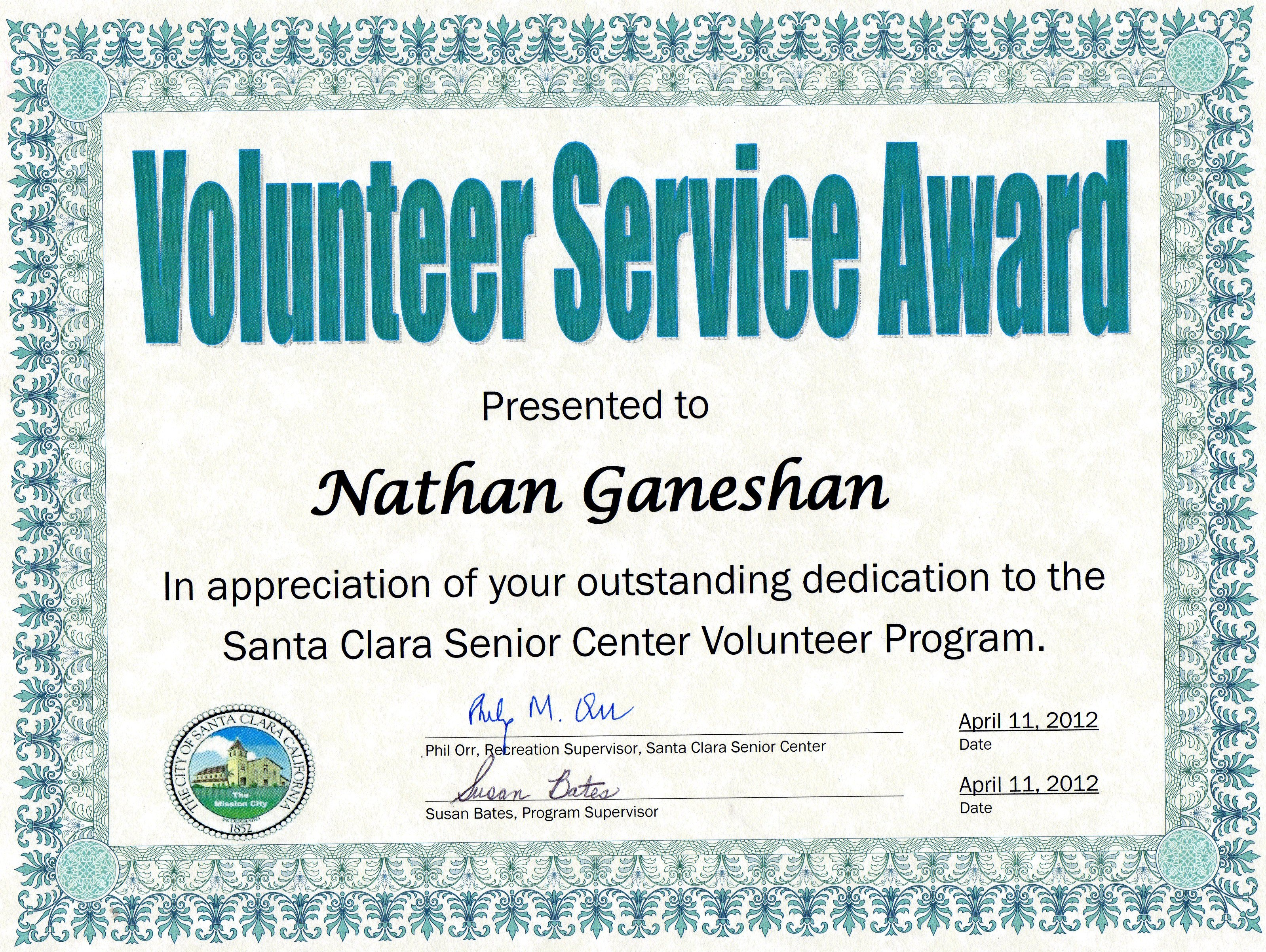Volunteer Appreciation Certificates Free Templates
